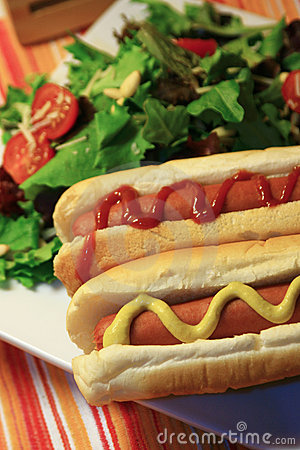 Free Hot Dog And Salad Royalty Free Stock Images - 1970979