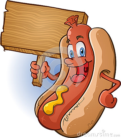 Free Hot Dog Character Holding Sign Stock Image - 26798141