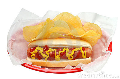 Hot Dog, Chips, Isolated, Clipping Path
