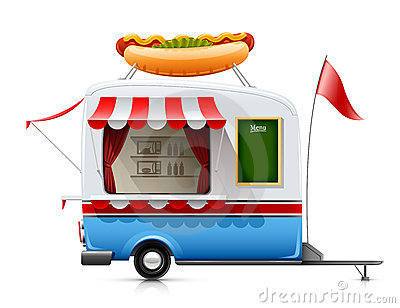Hot-dog d aliments de préparation rapide de remorque