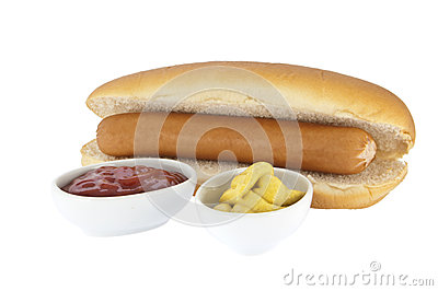 Hot Dog with sauces in bowls (clipping paths)