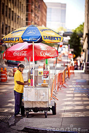 Hot Dog stand in New York Editorial Stock Image