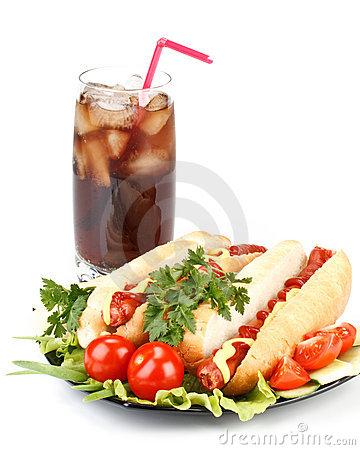 Hot Dog With Vegetables And Cola Royalty Free Stock Photos - Image: 8044868