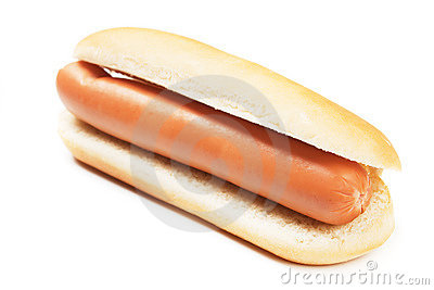 Hot dog  on white