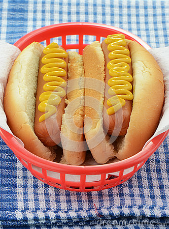 Hot dogs with mustard