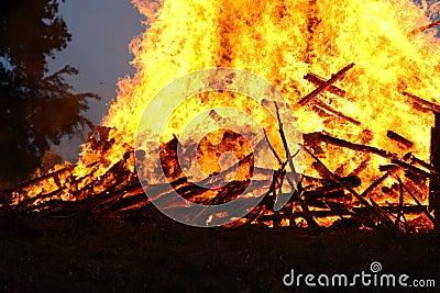 A hot fire