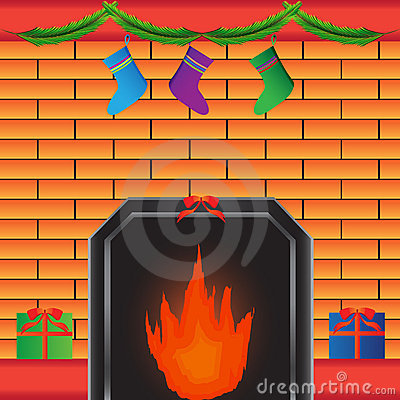 Hot fireplace with present
