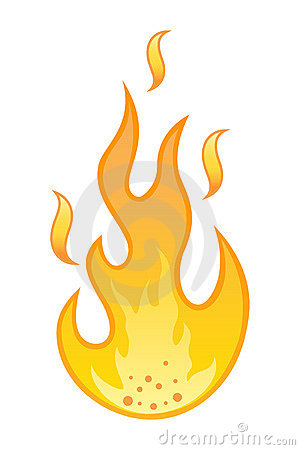 Hot flame on white background