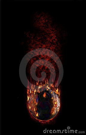 Hot football falling with fume and flames