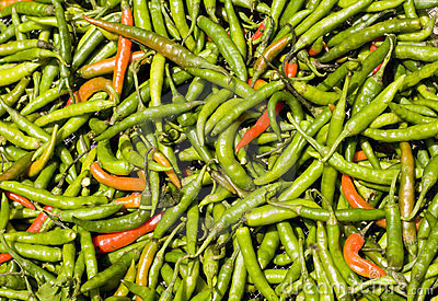 Hot Green and Red Peppers