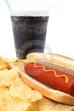 Hot hog fast food meal with potato chips and soda