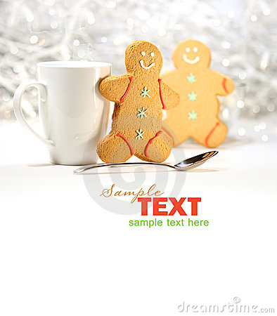Hot holiday drink with gingerbread cookies