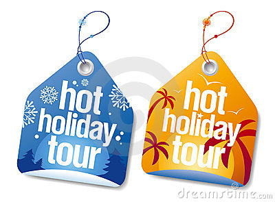 Hot holiday tour labels.