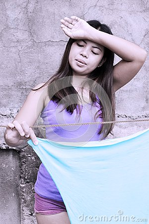 Free Hot Lady Tired From Laundry Stock Image - 112272011