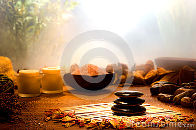 Hot Massage Polished Stones in a Relaxation Spa