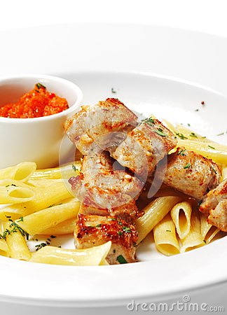 Hot Meat Dish - Grilled Pork with Pasta Penne