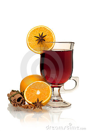 Free Hot Mulled Wine With Oranges, Anise And Cinnamon Royalty Free Stock Photography - 16427117