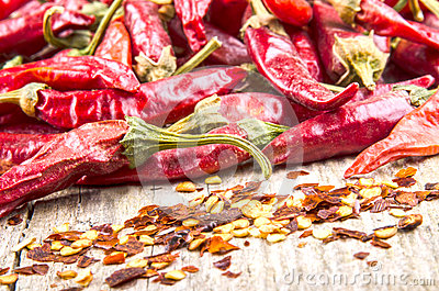 Hot paprika and chilli flakes