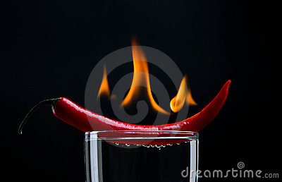 Hot pepper on fire