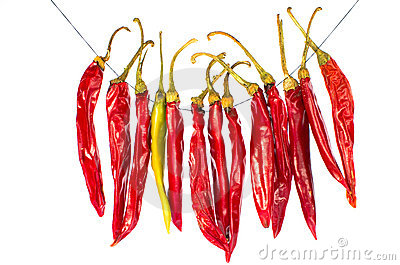 Hot peppers on string