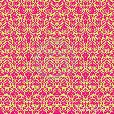 Hot Pink & Green vintage Paisley damask wallpaper