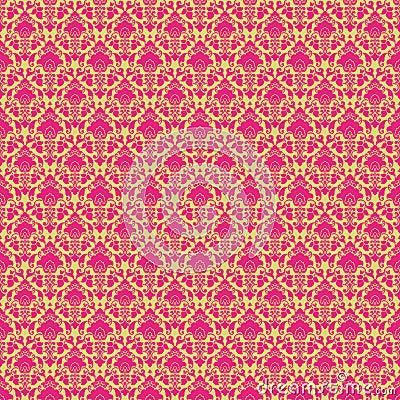 Hot Pink & Green vintage Paisley damask wallpaper