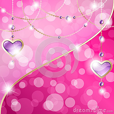 Hot Pink Sparkly Banner With Heart-shaped Pendants Stock ...