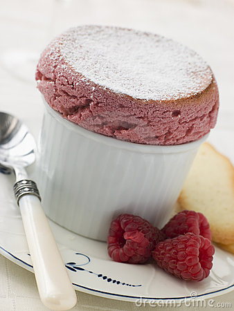 Hot Raspberry Souffle with Langue de Chat Biscuits