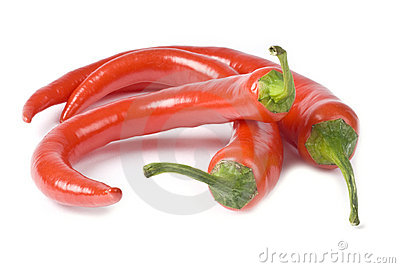 Hot Red Chili Peppers Isolated on White