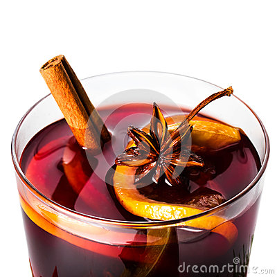 Hot red mulled wine for winter and Christmas with orange slice,