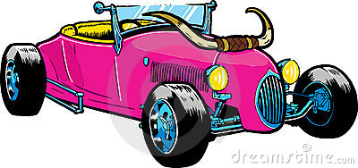 Hot Rod style car with large horns