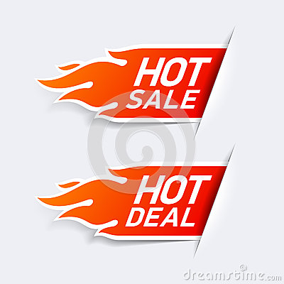Free Hot Sale And Hot Deal Labels Stock Image - 38317861