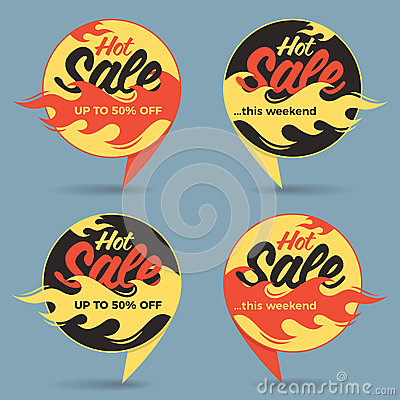 Hot sale price offer deal vector labels stickers. Circle form wi Vector Illustration