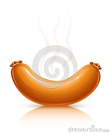 Hot sausage with smoke