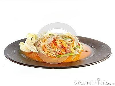 Hot and spicy papaya salad