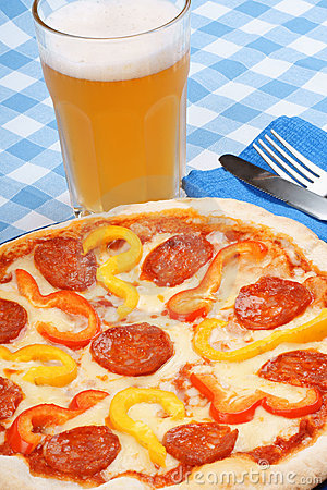 Hot spicy pizza and beer