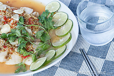Hot and spicy slice fish, thai style