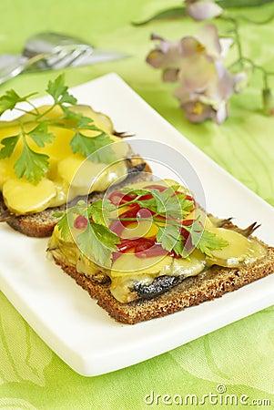 Hot sprats sandwich