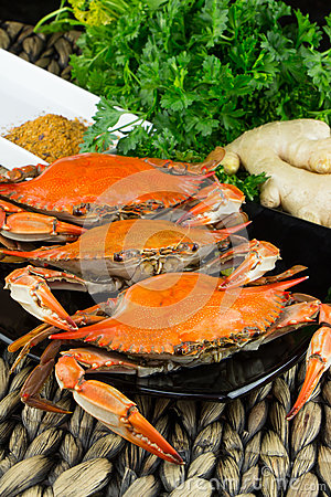Free Hot Steamed Blue Crabs With Ginger. Maryland Crabs. Cooked And Ready To Eat. Stock Photos - 83973023