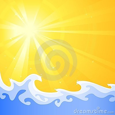 Hot summer sun and cool relaxing water waves