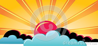 Hot Sun With Clouds Royalty Free Stock Images - Image: 9510339