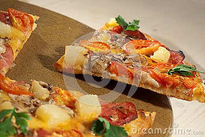 Hot taste pizza on the table