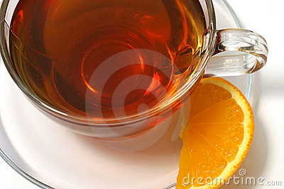 Hot tea lemon slice
