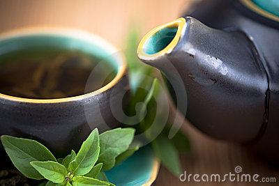 Hot tea and tea pot