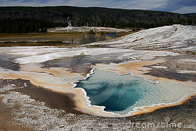 Hot thermal pool, Yellowstone park, USA