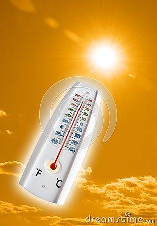 Hot thermometer  on orange sky