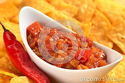 Hot Tomato Salsa with Nachos