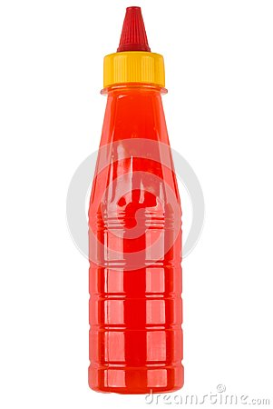 Free Hot Tomato Sauce In Red Plastic Bottle Isolated On White Stock Image - 103067261