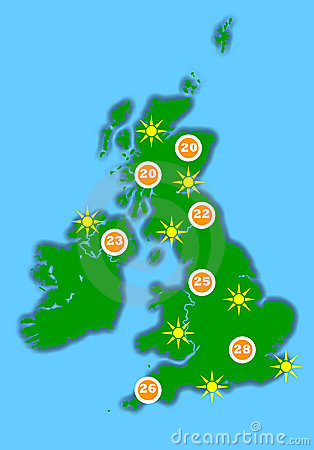 Hot UK weather map