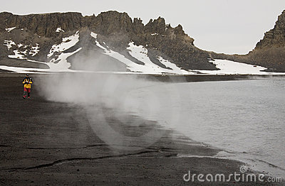 Hot Volcanic Beach - Deception Island - Antarctica Editorial Image